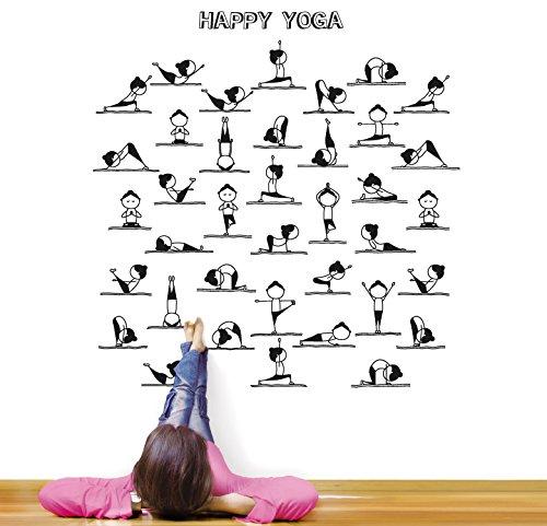 MYVINILO - Vinilo Decorativo - Happy Yoga/Negro (75 cm x 75 ...