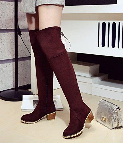BIGTREE Botas largas Mujer Casual Cordones Otoño Invierno Bloque Sintética Ante Cómodo Botas sobre la rodilla De Marrón