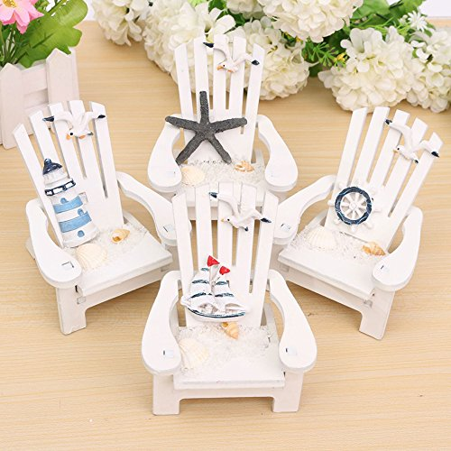 qiguch66 Decorations for Living Room, Mini Fairy Wooden Mediterranean Beach Chair Dollhouse Garden Home Decor Ornament - Random Pattern (Mini Living Beach)