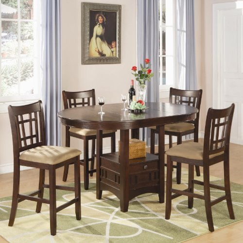 Coaster-Home-Furnishings-Lavon-5-Piece-Storage-Counter-Table-Dining-Set-Warm-Brown