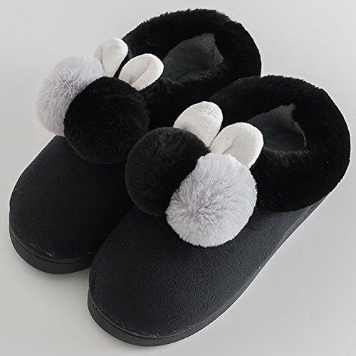 en Cute Chaudes Chausson Noir Peluche Homme en Slippers Femme Pantoufles Chaussures Hiver OR7fH7