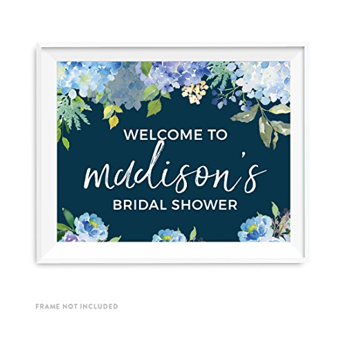 Andaz Press Navy Blue Hydrangea Floral Garden Party Wedding Collection, Personalized Party Signs, Welcome to Madison's Bridal Shower Sign, 8.5x11-inch, 1-Pack, Custom Made Any (Welcome Hydrangea)