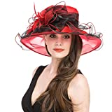 SAFERIN Womens Organza Church Kentucky Derby Fascinator Bridal Cap British Tea Party Wedding Hat