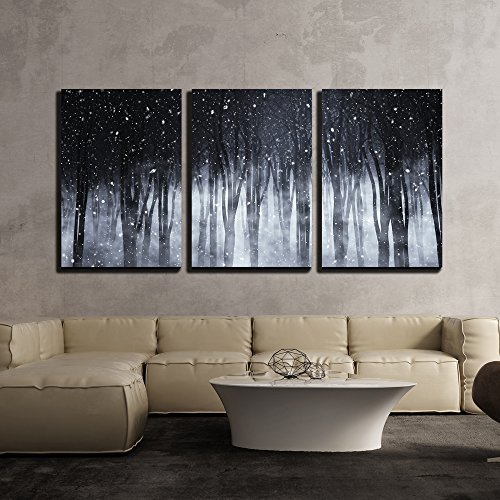 wall26 - 3 Piece Canvas Wall Art - 3D Render of a Spooky Foggy Forest on a Snowy Night - Modern Home Decor Stretched and Framed Ready to Hang - 24