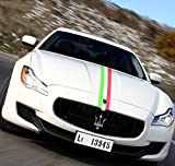 47'' Italia Italy Flag Auto Decal Bonnet Stripes for Car Hood, Roof, Trunk, Fender for Porsche, Ferrari, FIAT, Volkswagen, Honda, Toyota, Peugeot