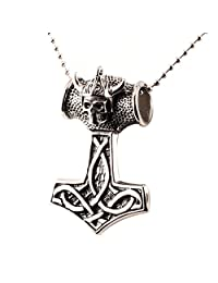 Stainless Steel Mythical Thor's Hammer Big Men Biker Pendant Necklace