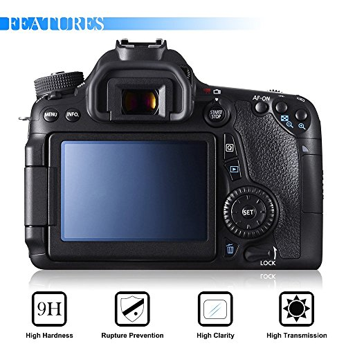 tor for Canon 70D 80D, AFUNTA 2 Pack Anti-scratch Tempered Glass DSLR Camera (Canon Lcd Cover)