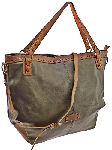 Maria C - Tote Bag For Women Gray Green Gray