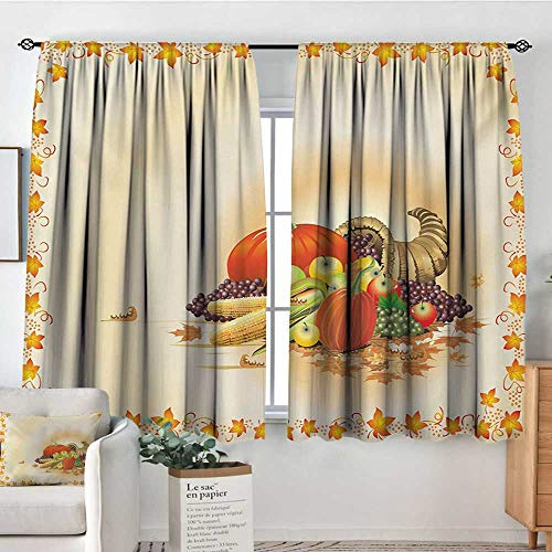 Harvest Custom Curtains Maple Tree Frame with Rustic Composition for Thanksgiving Halloween Dinner Food Kid Blackout Curtains 55