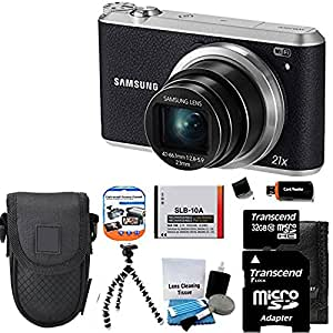 """Samsung WB350F 16.2MP CMOS Smart WiFi & NFC Digital Camera with 21x Optical Zoom and 3.0"""" Touch Screen LCD and 1080p HD Video (Black) + Compact Case + Gripster Tripod + Extra Battery With 32 GB micro Top Deluxe Accessory Kit"""