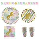 Candlewood Imports Unicorn Theme Birthday Party Supplies Kit - Plates, Cups, Napkins, Birthday Banner - Serves 16 Guests