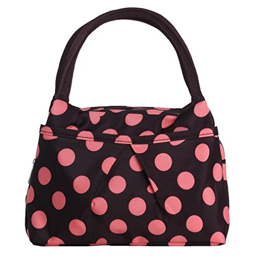 ZXKE Dots Print Style Lunch Bag Tote (Pink dots - Pink Color Brown