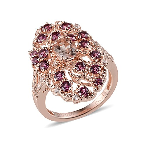 Morganite, Multi Gemstone Platinum Plated Silver Cluster Ring 2 cttw Size 7 (Gemstone Cluster Multi Ring)