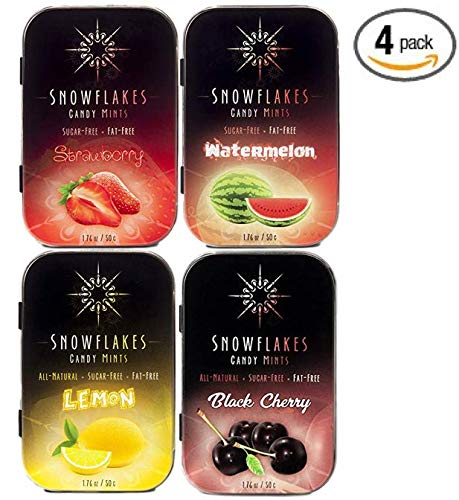 Fruity Assorted Xylitol Candy Chips (4-Pack) - Snowflakes 50g Tins - Strawberry, Lemon, Watermelon, Black Cherry | Handcrafted with ONLY 2 Ingredients | Diabetic-friendly, Non-GMO, Vegan, GF & Kosher!