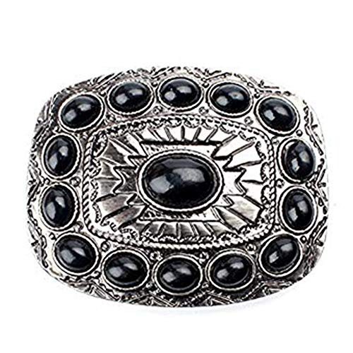 Agate belt buckle western buckles for men and women (black) ()