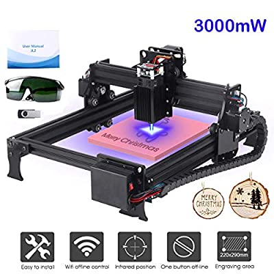 Yofuly 3000mW Laser Engraving Machine Upgrade Version DIY Desktop CNC Engraving Machine Wood Router Engraver, Support Computer/Android WIFI/Off-line Control Laser Printer with Protective Glasses