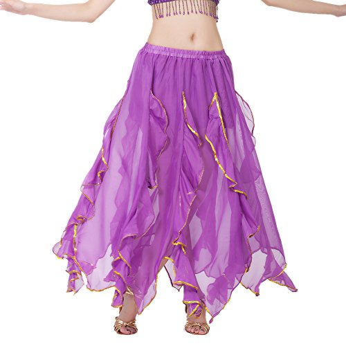 [BellyLady Belly Dance Chiffon Lotus Leaf Skirt, Bollywood Arabic Dance Costume PURPLE] (Purple Belly Dance Costume)