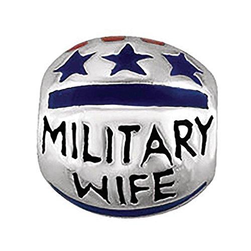 Kera Silver Enamel - Sterling Silver 9mm Polished Kera Military Wife Enamel Bead Charm