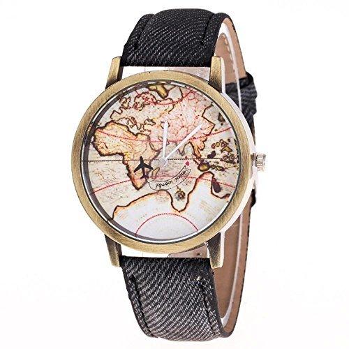 Amazon wrist watches ftxj retro world map design denim band wrist watches ftxj retro world map design denim band quartz watchblack gumiabroncs Images