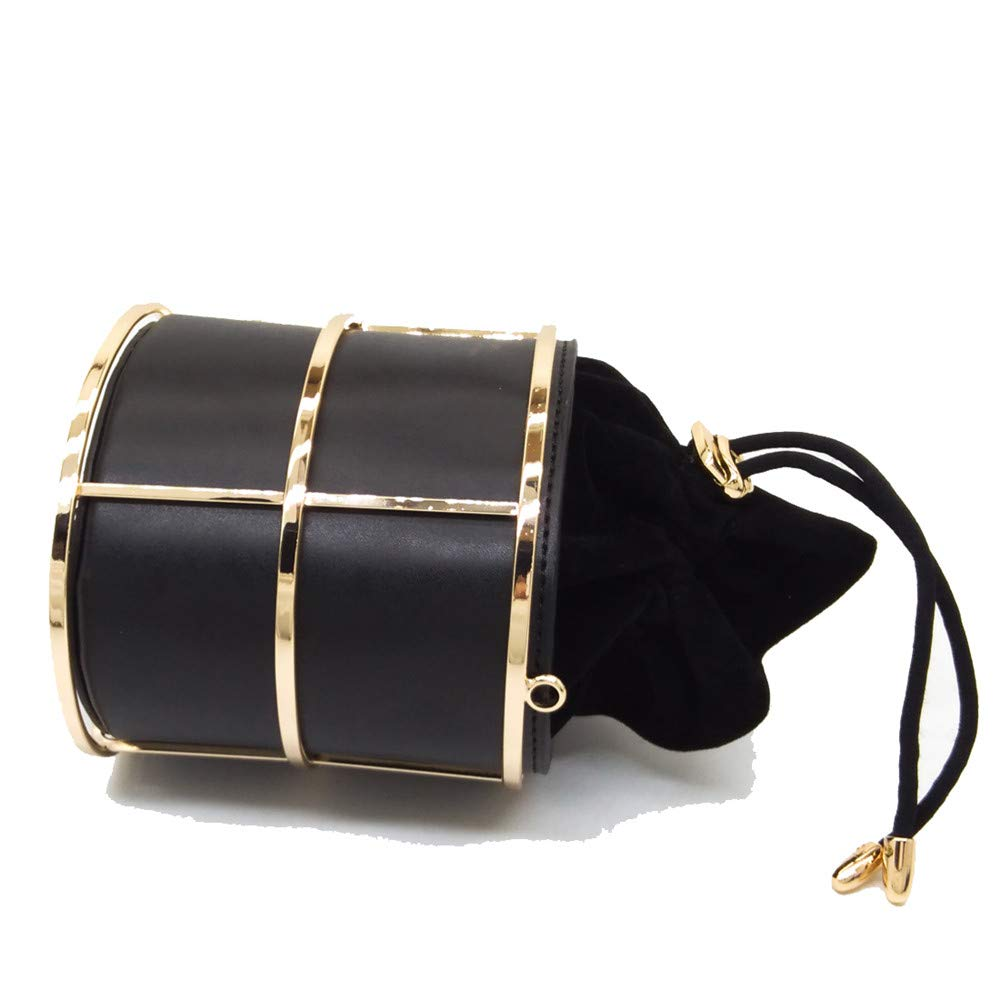 FeliciaJuan Suede Evening Bag Pu Leather Handbag Metal Cylinder Chain Bag Pumping Bucket Bag Evening Bag