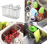Countertop Storage Kitchen Sink Organizer, KNOWHOME Kitchen Sink Caddy, Stainless Steel Sink Sponge Holder Brush Soap Dishwashing Liquid Drainer Rack For Kitchen Sink Countertop Storage