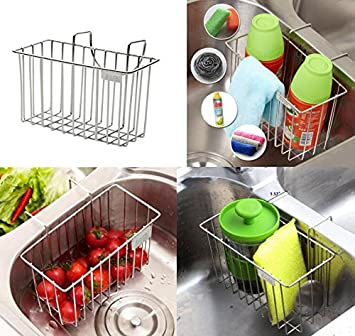 Kitchen Sink Organizer, KNOWHOME Kitchen Sink Caddy, Stainless Steel Sink  Sponge Holder Brush Soap