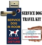 """Service Dog Travel Kit includes """"Service Dog in Room - Do Not Disturb"""" - Door-Hangers (pack of 5) and ADA/FAA Informational Handout Cards (pack of 5)"""