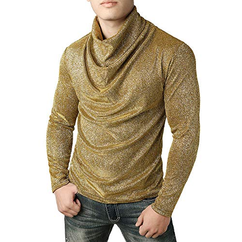 Superior Suéter Alto Pecho Plisado Hombre Cuello De Larga Manga Oro Fluorescente Nacional Camiseta Estilo P1xw7x