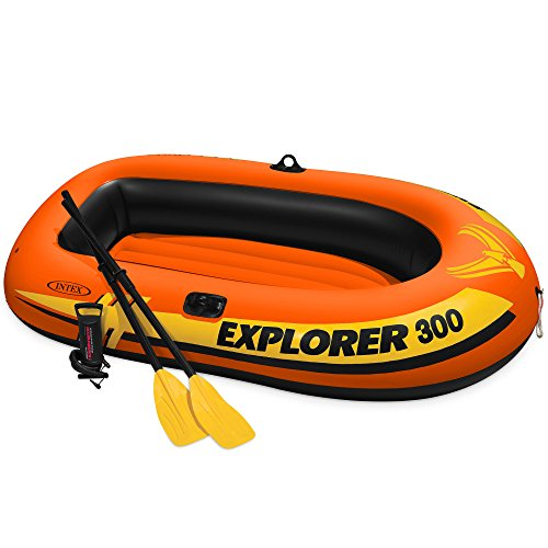 (Intex Explorer 300, 3-Person Inflatable Boat Set with French Oars and High Output Air Pump)