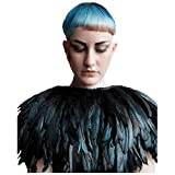 L'VOW Fashion Feather Cape Stole Black Shawl Iridescent