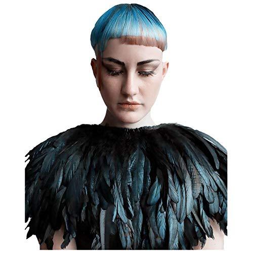 L'vow Fashion Feather Cape Stole Black Shawl Iridescent
