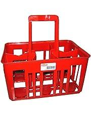 Stefanplast Cesta Cestello Portabottiglie 6Scomparti per Bottiglie da Lt.1 con Manico, Rosso, 1 Litro