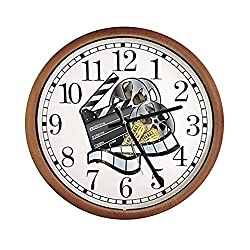 New Espresso/Cappuccino Finish Round Wall Hanging Clock featuring Movie Reel Themed Logo