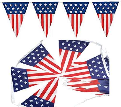 SPJ: USA Flag String Triangle Pennant Banner Polyester Cloth 22 Feet America Patriotic Spirit Stars and Stripes Decorate Party Event (Spirit Halloween Super Store)