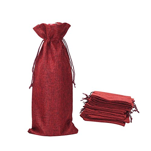 Shintop 10pcs Jute Wine Bags, 14 x 6 1/4 inches Hessian Wine Bottle Gift Bags with Drawstring (Red) (750ml Red Wine)