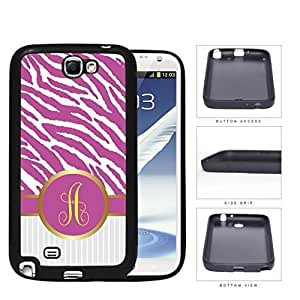 Customized Hot Pink and White Zebra Pattern Animal Print with Gray and White Vertical Stripes on Bottom and Hot Pink and Yellow Round Monogram in Center Outlined in Gold Rubber Silicone TPU Cell Phone Case Samsung Galaxy Note 2 II N7100