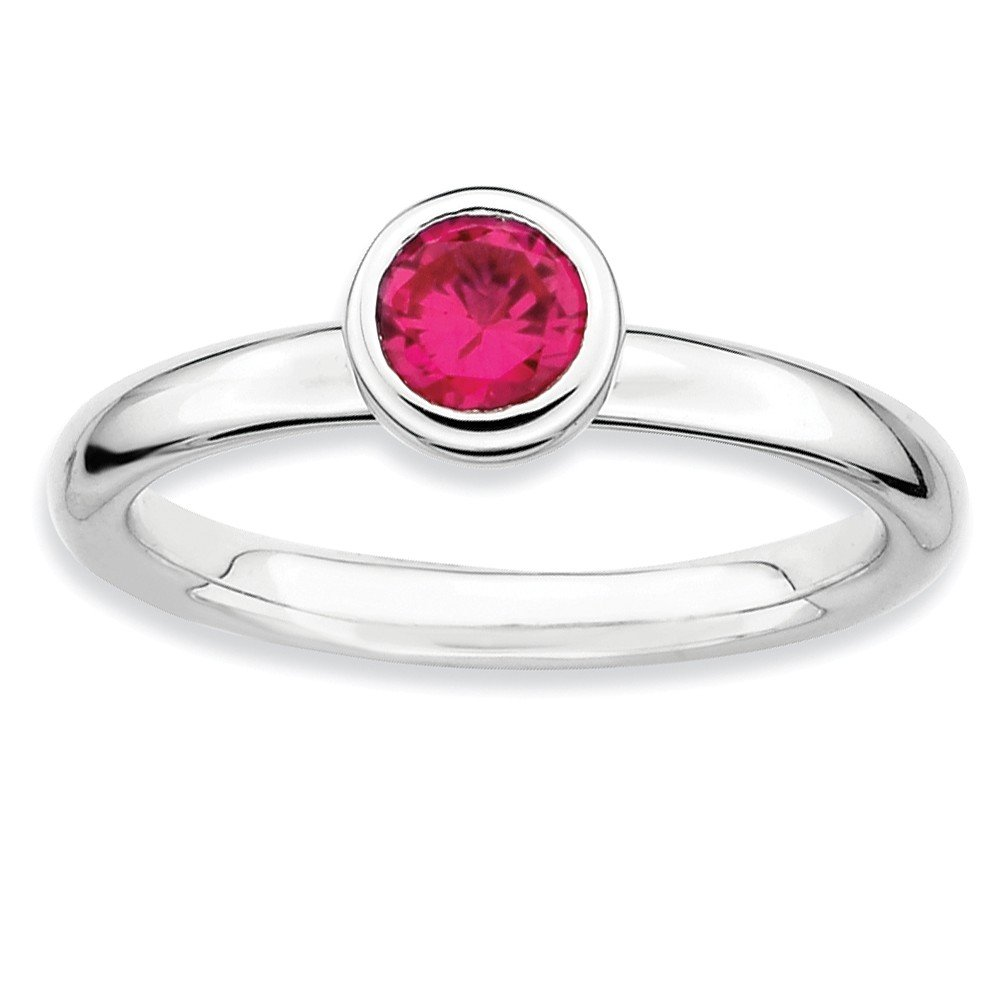 Top 10 Jewelry Gift Sterling Silver Stackable Expressions Low 5mm Round Cr. Ruby Ring