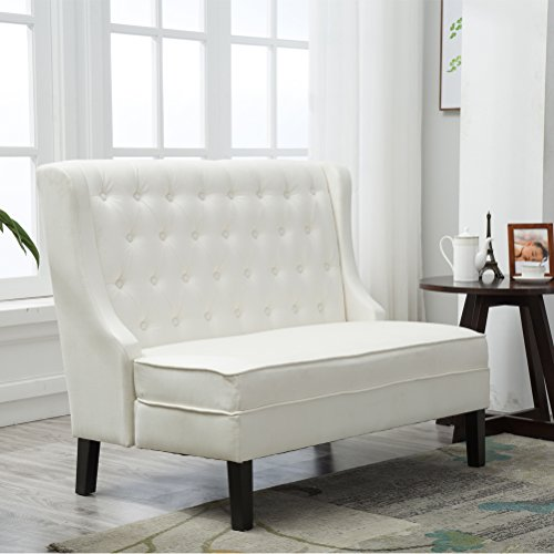 Andeworld Tufted Loveaseat Settee Sofa Bench for Dining Room (Beige 1)