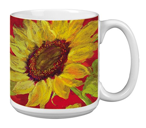 Sunflower Prima Donna Extra Large Mug, 20-Ounce Jumbo Ceramic Coffee Mug Cup - Gift for Flower and Garden Lovers (XM29584) Tree-Free Greetings