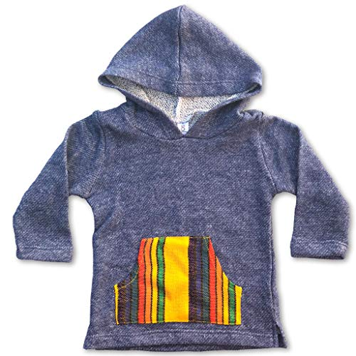 - Sol Baby Denim French Terry Serape Infant/Toddler Baja Hoodie-6m-Blue