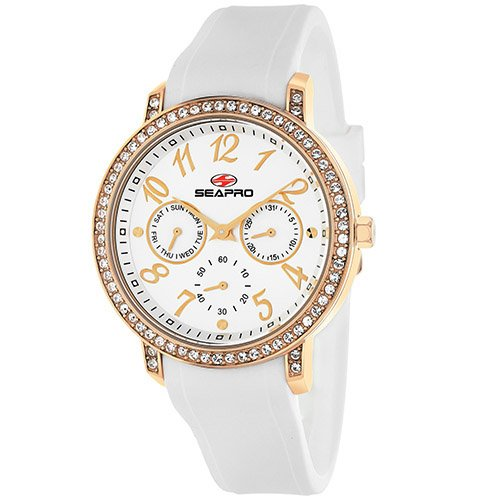 Seapro Women's SP4412 Swell White/Silver Stainless Steel Case with Silicone Strap Watch