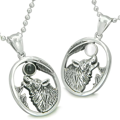 Amulets Howling Wolf Moon Best Friends Simulated Onyx White Simulated Cats Eye Yin Yang Pendant Necklaces
