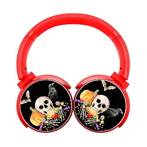 Halloween Pumpkin Skull Customized Wireless Retractable Bluetooth Headphones Headsets Over Ear Kids Adults Red