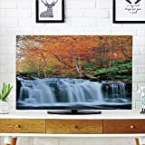 iPrint LCD TV Cover Multi Style,Waterfall,Waterfalls in Autumn Season Nature Park with Colorful Foliage Trees,Orange Green Dark Brown,Customizable Design Compatible 55'' TV