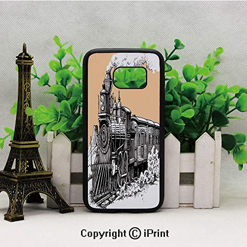 (Vintage Wooden Train Rail Wild West Wagon in Countryside Drawing Effect Artsy Samsung S7 Case for Girls Women Hard Back Shock Drop Proof Impact Resist Protective Case for Samsung S7 Peach White)