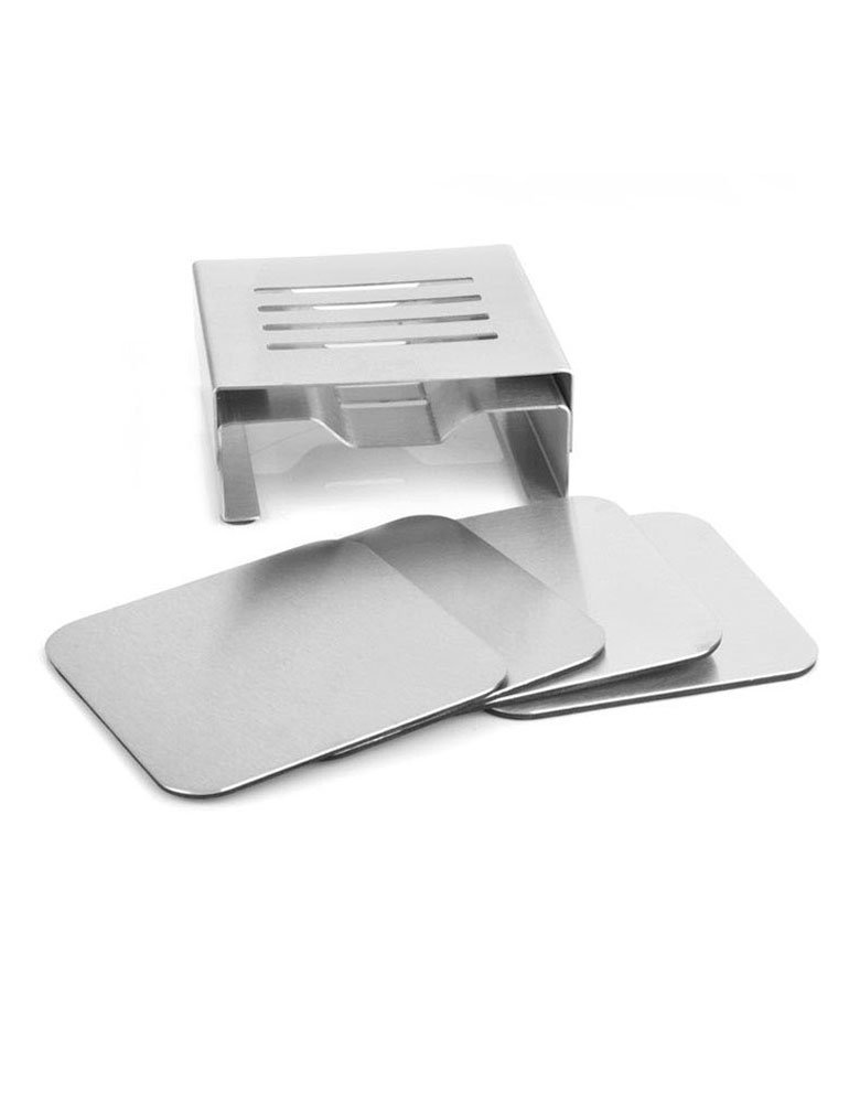 iecool Creative Stainless Steel Metal Placemats Insulation Pad Silver Square