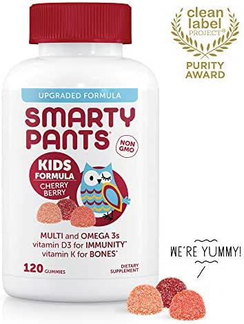 Daily Gummy Multivitamin Kids Cherry Berry: Biotin, Vitamin C, D3, E, B12, A, Omega 3 Fish Oil, Zinc, Iodine, Choline, Methyl Folate, by SmartyPants (120 Count, 30 Day Supply) - Packaging May Vary