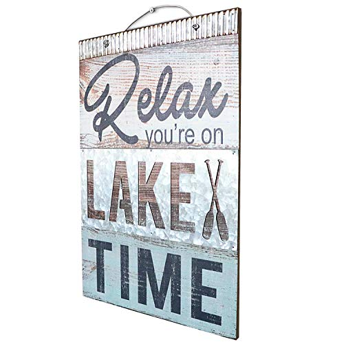 """Barnyard Designs Relax You're On Lake Time Nautical Wooden Plaque with Corrugated Sheet Metal, 20"""" x 14"""" 
