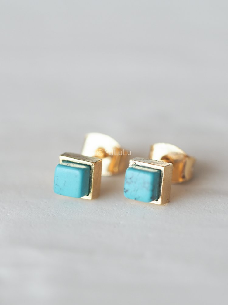 Tiny Blue Simulated Turquoise Geometric Square Stud Earrings
