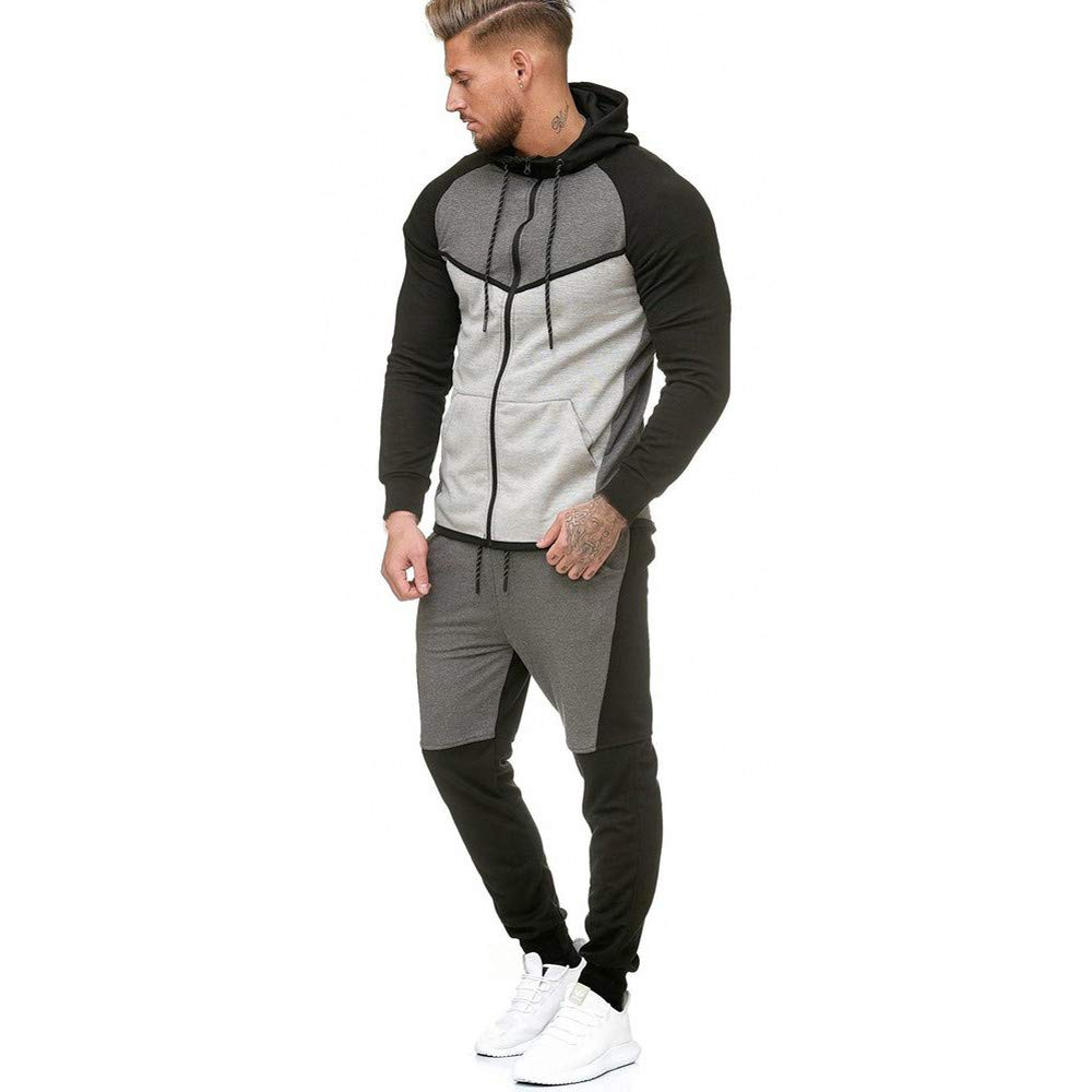 Fxbar,Men's Sweatshirt Patchwork Top Pants Sets Sports Suit Winter Jackets(Gray,XL) by Fxbar